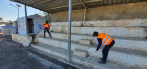 Cleaning stadium seating