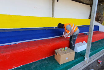 Painting stadium seating