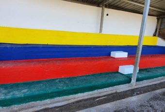 Color makes the stadium steps a more enjoyable place for kids to come for songs and games